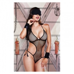 Body sexy donna a rete, manette e maschera in raso - BLACK MESH MONOKINI WITH MASK AND CUFFS