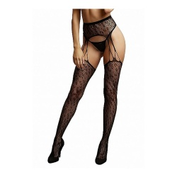 Collant con reggicalze a rete - Shredded Suspender Pantyhose
